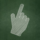 Advertising concept: Mouse Cursor on chalkboard background — Stock Photo