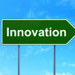 Постер, плакат: Business concept: Innovation on road sign background