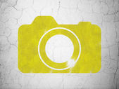 Travel concept: Photo Camera on wall background — Stock Photo