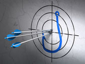 Privacy concept: arrows in Fishing Hook target on wall background — Zdjęcie stockowe