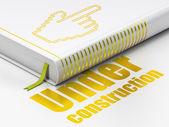 Web design concept: book Mouse Cursor, Under Construction on white background — Stock Photo