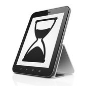 Timeline concept: Hourglass on tablet pc computer — ストック写真