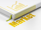 Finance concept: book Growth Graph, Market on white background — Stock Photo