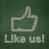 Social media concept: Thumb Up and Like us! on chalkboard background — Stock Photo