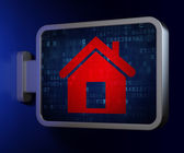 концепция безопасности: дома на щит фона — Стоковое фото