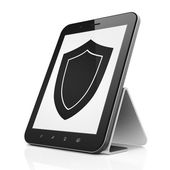 Safety concept: Shield on tablet pc computer — Stock Photo