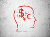 Marketing concept: Head With Finance Symbol on wall background — Stock Photo