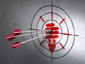 Business concept: arrows in Energy Saving Lamp target on wall background — Stock Photo