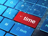 Timeline concept: Clock and Time on computer keyboard background — Stock Photo