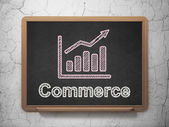 Finance concept: Growth Graph and Commerce on chalkboard background — Stock Photo