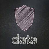 Information concept: Shield and Data on chalkboard background — Stock Photo