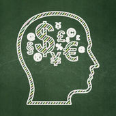 Finance concept: Head With Finance Symbol on chalkboard background — Stock Photo