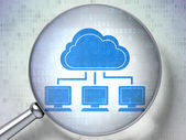 Cloud technology concept: Cloud Network with optical glass on digital background — Stock Photo