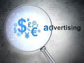 Advertising concept: Finance Symbol and Advertising with optical glass — Stock Photo