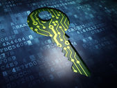 Security concept: Key on digital screen background — Stock Photo