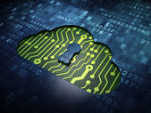 Cloud computing concept: Cloud With Keyhole on digital screen background — Stock Photo