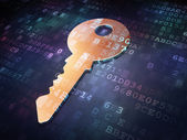Security concept: Golden Key on digital background — Stock Photo
