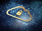 Cloud technology concept: Golden Cloud With Padlock on digital background — Stock Photo