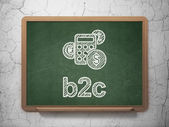Business concept: Calculator and B2c on chalkboard background — Stok fotoğraf