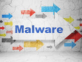 Security concept: arrow with Malware on grunge wall background — Stock Photo