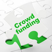 Business concept: Crowd Funding on puzzle background — Stok fotoğraf