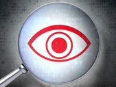 Security concept: Eye with optical glass on digital background — Stock Photo