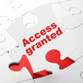 Privacy concept: Access Granted on puzzle background — Stock Photo
