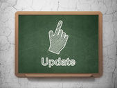 Web development concept: Mouse Cursor and Update on chalkboard background — Stock Photo