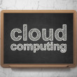 Cloud networking concept: Cloud Computing on chalkboard background — Stock Photo