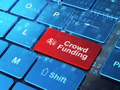 Finance Symbol and Crowd Funding on computer keyboard background — Stock Photo