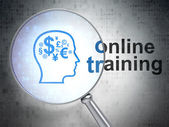 Head With Finance Symbol and Online Training optical glass — Stock Photo
