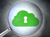 网络的概念: 云与锁孔光学玻璃上数字背景 — 图库照片