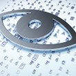 Security concept: Silver Eye on digital background — Stock Photo