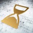 Timeline concept: Golden Hourglass on digital background — Stockfoto