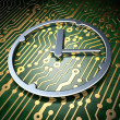 Timeline concept: Clock on circuit board background — Stock Photo #40416985