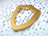 Privacy concept: Golden Contoured Shield on digital background — Stock Photo