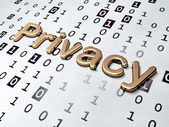 Protection concept: Golden Privacy on Binary Code background — Stock Photo
