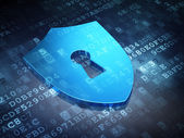 Protection concept: Blue Shield With Keyhole on digital background — Stock Photo