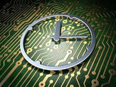 Timeline concept: Clock on circuit board background — Stock Photo