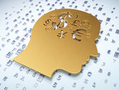 Education concept: Golden Head With Finance Symbol on digital background — Stock Photo