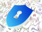 Privacy concept: Shield With Keyhole on alphabet background — Stockfoto