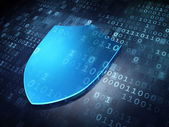 Privacy concept: Blue Shield on digital background — Stockfoto
