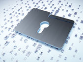 Finance concept: Silver Folder With Keyhole on digital background — Stock Photo