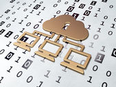 Cloud networking concept: Golden Cloud Network on Binary Code background — Stockfoto