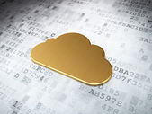 Cloud networking concept: Golden Cloud on digital background — Stock Photo