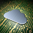 Cloud networking concept: Cloud on circuit board background — Stock Photo #40432479