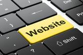 Conceito de Web design: site sobre fundo de teclado de computador — Fotografia Stock