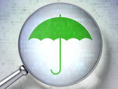 Security concept: Umbrella with optical glass on digital background — Stock Photo