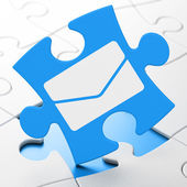 Business concept: Email on puzzle background — 图库照片