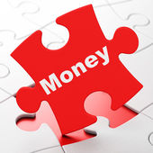 Business concept: Money on puzzle background — 图库照片